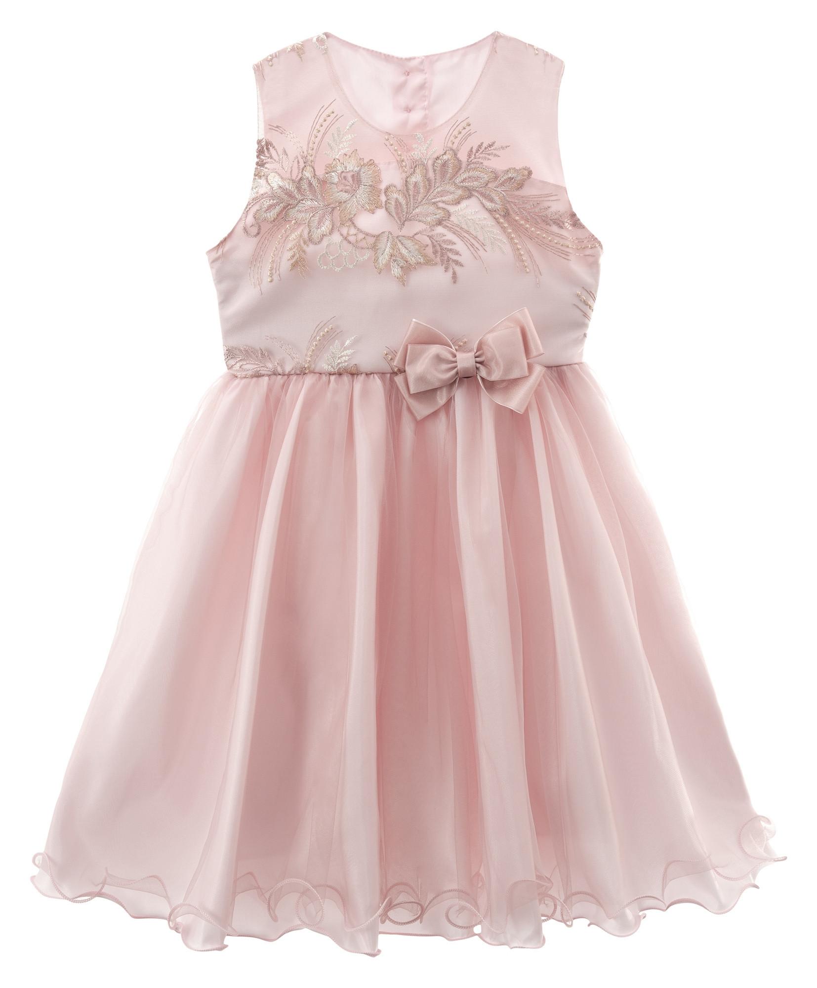 Vestido infantil de festa Libelinha com Tule Bordado Rosa