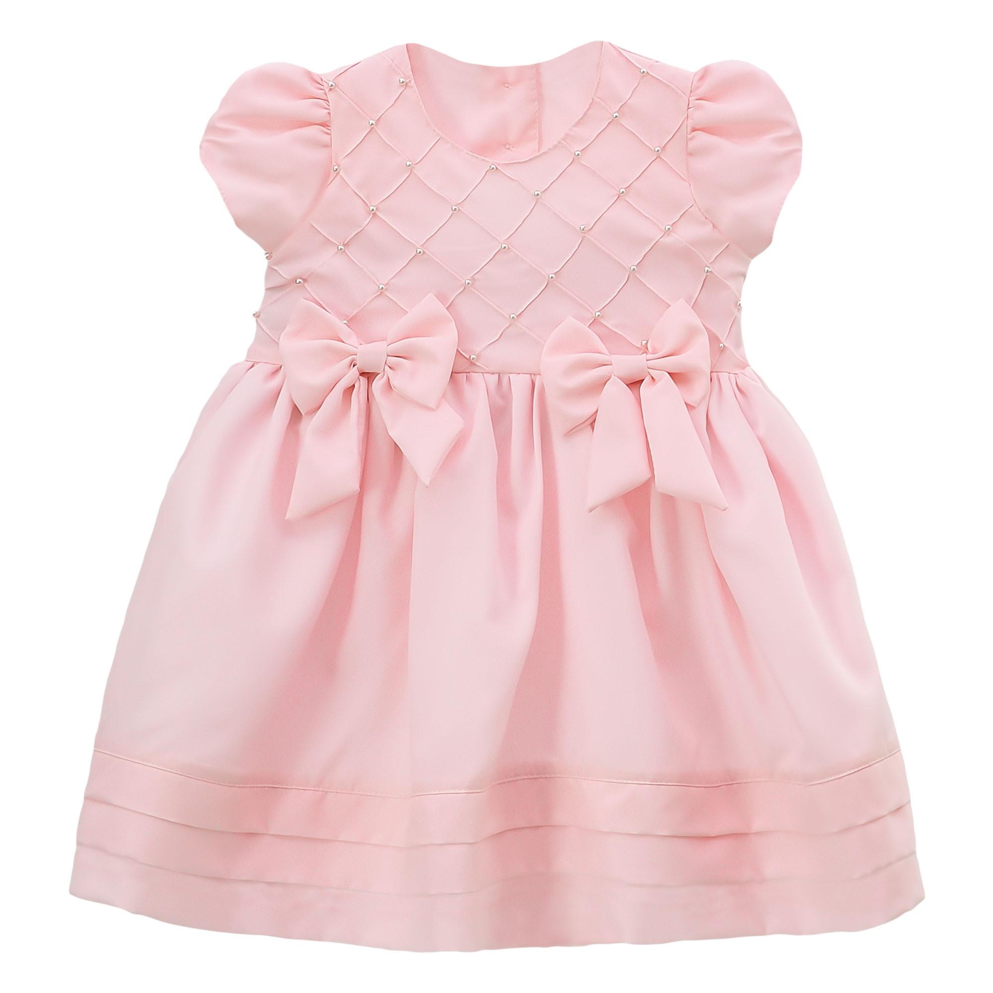Vestido de festa Libelinha para bebê com Peito com Nervuras – Rosa