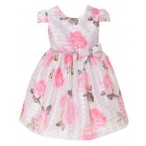 Vestido infantil de festa Libelinha com estampa floral– Rosa