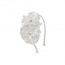 Tiara com 2 flores em Cetim e Organza
