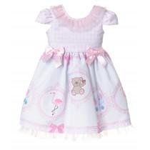 Vestido de festa Libelinha para bebê com Barrado de Bichinhos – Rosa