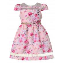 Vestido infantil de festa Libelinha em Estampa Floral- Rosa