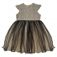 Vestido de festa Libelinha para bebê com Renda – Cru e Preto