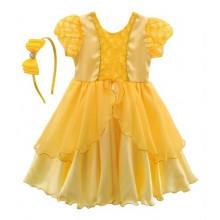"""Vestido infantil de festa Libelinha fantasia """"A Bela e a Fera"""" Amarelo"""